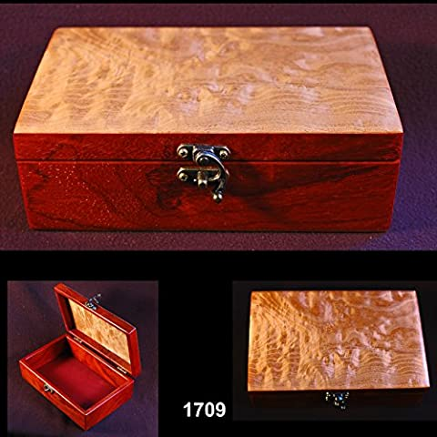 Small treasures box. Bubinga body with figured maple lid. #1709 - Bubinga Body