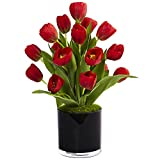 Nearly Natural Tulips Silk Arrangement in Cylinder Vase, Red