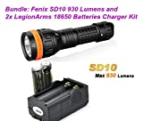 Bundle: Fenix SD10 LED Dive Flashlight 930 Lumens Professional Diving Light with Two LegionArms 18650 Batteries and Charger Combo