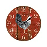 EFR French Inspired Le Coq Rooster Wall Clock - 11''