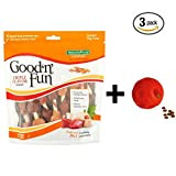 Good'n'Fun Triple Flavored Kabobs Rawhide Chews for Dogs (12 oz- 18 count, 3-Pack + Dog Toy)
