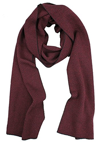 Emji 100% Cashwool Merino Wool Scarf, Men's or Women's Herringbone Double Knit Reversible Scarf, Black and Red by Emji
