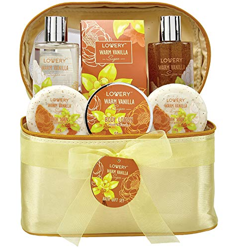 Beads Aromatherapy Spa (Bath and Body Gift Basket For Women and Men – Warm Vanilla Sugar Home Spa Set, Includes Fragrant Lotions, Exfoliating Bath Soaps, Hand Soap with Beads, Reusable Travel Cosmetics Bag and More)