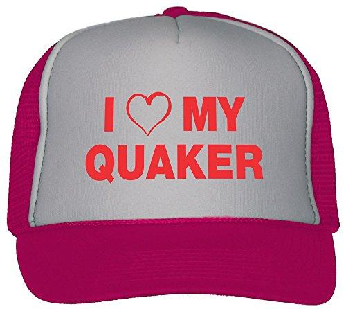 T-ShirtFrenzy I Love My Quaker Trucker Hat Cap Hot Pink