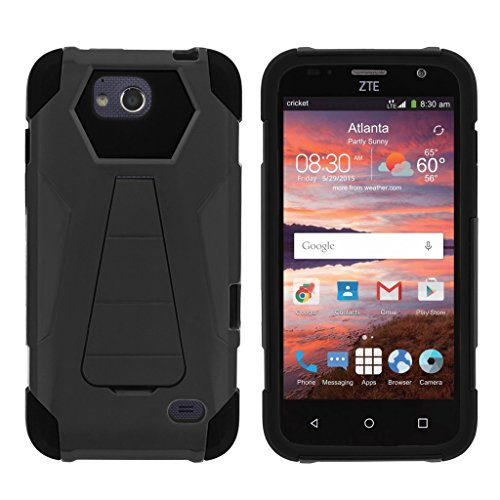 TurtleArmor | ZTE Majesty Pro Case [Dynamic Shell] Dual Layer Hybrid Impact Case Fitted Silicone Kickstand Sea Ocean Design - Black