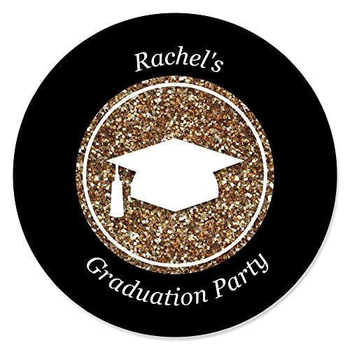 Custom Tassel Worth The Hassle - Gold - Personalized Graduation Party Favor Circle Sticker Labels - Set of - It Favors Do Yourself Party