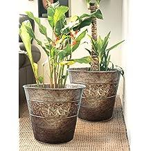 Flower pots Planters 13 Inch Set 2, outdoor and Indoor, Galvanized Gardening Pots for Plants