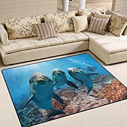 ALAZA Ocean Sea Hipster Dolphin Area Rug Rugs for Living Room Bedroom 7' x 5'