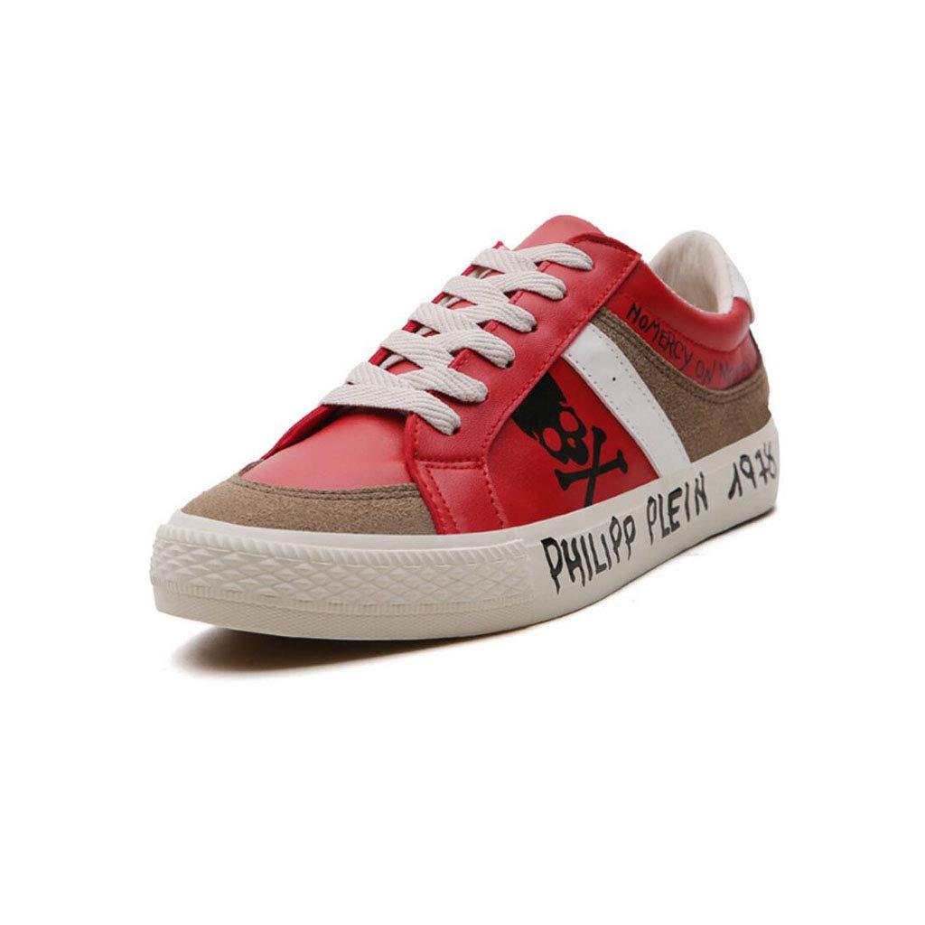 XxoSchuhe Niedrig Cut Leder Herrenschuhe Casual Sport Graffiti Schuhe Männer Weiß, Rot, Schwarz
