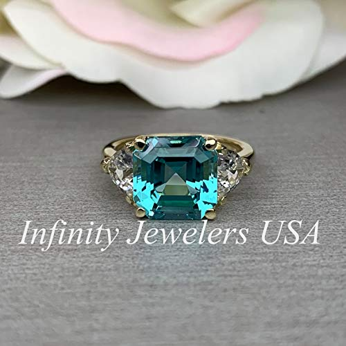 Asscher Cut Engagement Ring/Asscher Cut and Trillion Sides Wedding Ring/White Sapphire and Neon Blue Paraiba / 14k Yellow Gold / (Asscher Vs2 Ring)
