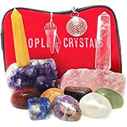 12 pcs Chakra Crystal Healing Kit/Lot of 7 Chakra tumbles, Crystal Quartz Pendulum, Amethyst Cluster, Raw Rose Quartz, and Crystal Point/Bohemian Meditation Set