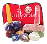 12 pcs Chakra Crystal Healing Kit/Lot of 7 Chakra tumbles, Crystal Quartz Pendulum, Amethyst Cluster, Raw Rose Quartz, and Crystal Point/Bohemian Meditation Set
