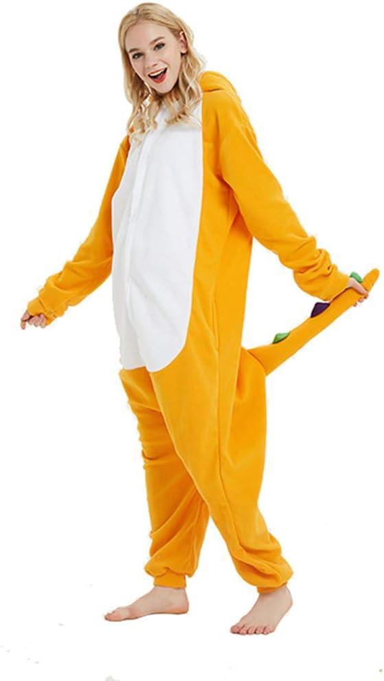 SXSHYUCO Jumpsuit Erwachsene M/änner Frauen Pyjamas Onesie Orange Charmander Cartoon Tier Cosplay Schlafanzug Kost/üm Bekleidung