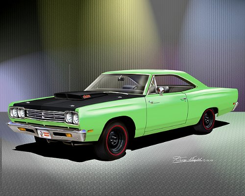 1969 PLYMOUTH ROAD RUNNER 440 6 PACK LIME LIGHT GREEN - ART PRINT POSTER BY ARTIST DANNY WHITFIELD- SIZE 16 X (440 Green Runner)