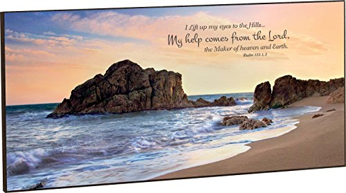 My Help Comes From the Lord Beach Shore 18 x 36 Wood Wall Art Sign Plaque by P Graham Dunn
