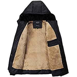 Fashciaga Men's Hooded Faux Fur Lined Quilted Winter Coats Jacket (Xx-Large, Black)