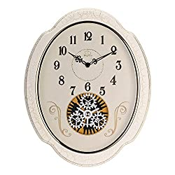 SMC 15-inch Modern living room European art idyllic mute oval wall clock, White Plastic Frame