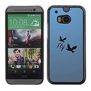 A-type Arte & diseño plástico duro Fundas Cover Cubre Hard Case Cover para All New HTC One (M8) ( Hermosa Mensaje Fly )