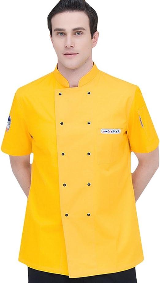 Dooxii Unisexo Mujeres Hombre Moda Verano Manga Corta Camisa de Cocinero Transpirable Chaquetas de Chef Uniforme Restaurante Occidental Cocina Trasera: Amazon.es: Ropa y accesorios