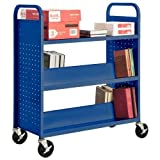 Sandusky Lee SVF336-06 Combination Bottom Flat Shelf Book Truck, 19'' Length, 39'' Width, 46'' Height, 5 Shelves, Ocean