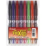 Pilot FriXion Ball Erasable Gel Pens, Fine Point, 8-Pack Pouch, Black/Blue/Red/Pink/Purple/Orange/Lime/Brown Inks (31569)