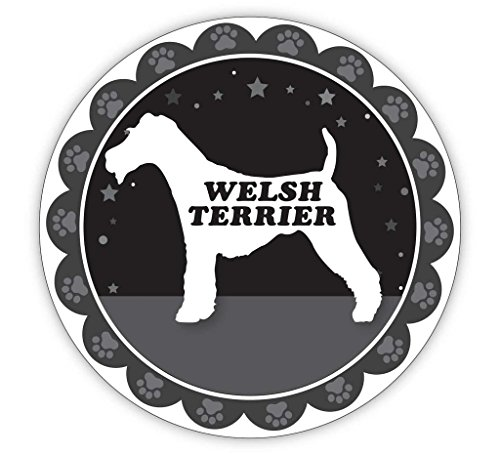 Makoroni - WELSH TERRIER Round Shape Dogs Pets Sticker - Car Laptop Wall Sticker Decal -3