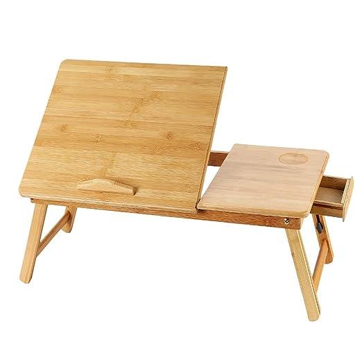 Weq Escritorio portátil de bambú y Madera, pequeño Escritorio ...