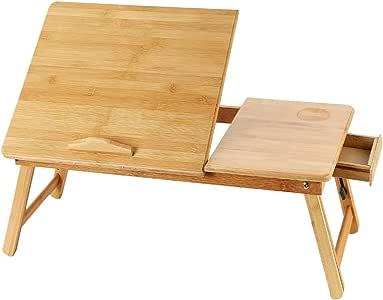 Ronghuafugui Escritorio portátil de bambú y Madera, pequeño ...