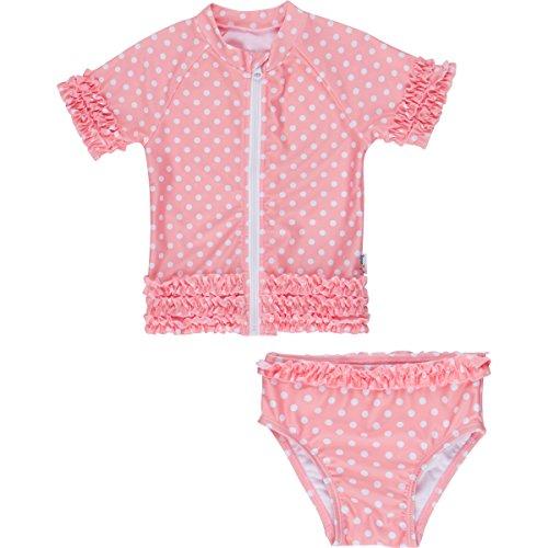 SwimZip Little Girl Sassy Surfer Zipper Rash Guard Swimsuit Set Melon 2T (Baby Girls Rash Guard Top)