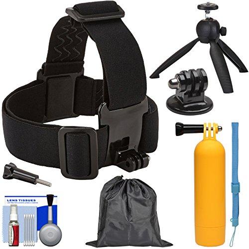 Sunpak Action Camera Head Strap Mount with Buoy Hand Grip + Wrist Strap + FlexPod Tripod + Adapter + Pouch + Kit