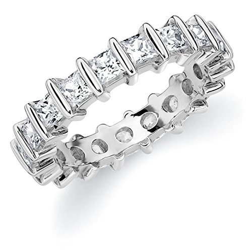 Platinum Diamond Princess Cut Bar Eternity Ring (1.5 cttw, F-G Color, VVS2-VS1 Clarity) Size 7.5 (Platinum Diamond Ring Eternity)