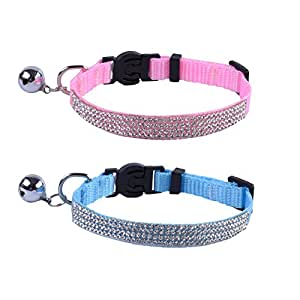 EXPAWLORER Breakaway Cat Collar with Bell, Adjustable Sparkly Rhinestone Necklace for Small Pet, Pink and Blue, Pack of 2