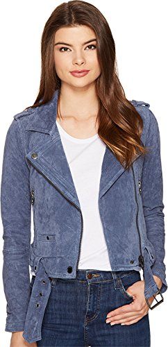 ([BLANKNYC] Women's Real Suede Moto Jacket, Slate Blue, Large)