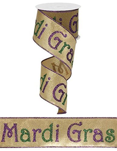 Mardi Gras Wired Ribbon 2.5 Inch X 10 Yards Gold Lame Print : -