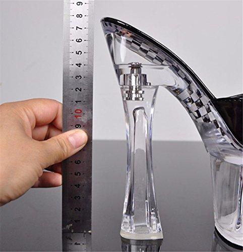 HXVU56546 El Ultra-Pasarela Constante Mujer Cool Zapatillas Impermeables Gruesas Solo Cristal Transparente Ultra Bold Y 18Cm black
