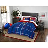 3 Piece NCAA Missouri Columbia Full Comforter Set, Blue Red, Sports Patterned Bedding, Featuring Team Logo, Columbia Merchandise, Team Spirit, College Football Themed, Polyester Material