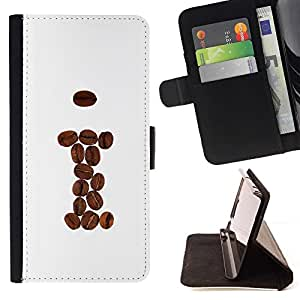 DEVIL CASE - FOR Apple Iphone 6 - cool coffee beans brown I hipster - Style PU Leather Case Wallet Flip Stand Flap Closure Cover