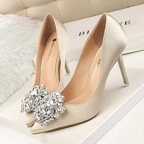 Mariage 34 Chaussures Talons 38 Sandale de Femme EU Solike Aiguille à élégantes Biege Stilettos Escarpins Pointues Strass Wedding Soirée Sexy Magnifique qwBxTT4A