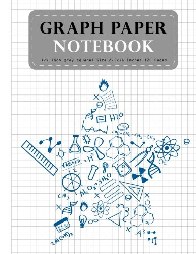 Graph Paper Notebook 1/4 inch gray squares Size 8.5x11 Inches 120 Pages: Science Star Composition Notebook Blank Quad Ru