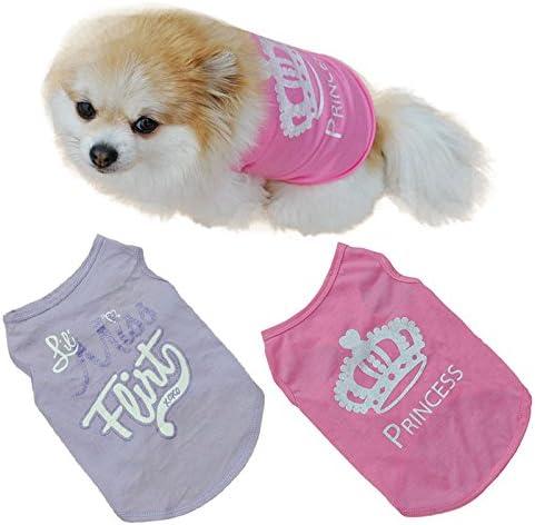 Xmiral T-Shirt Puppy Summer T-Shirt Small Dog Cat Pet Vest Viola L