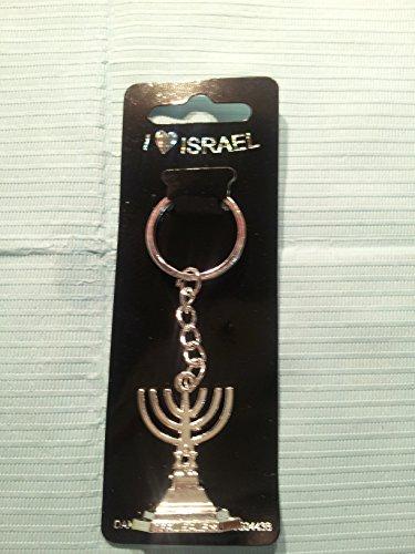 Dana Candle - DAN-AS Jewish Menora Candle Hanukkah Judaism- Metal Chain Keychain-israel Holy Land