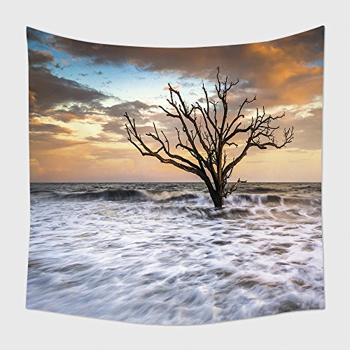 Home Decor Tapestry Wall Hanging Botany Bay Edisto Island Sc Boneyard Beach Sunset Landscape Charleston South Carolina East Coast for Bedroom Living Room Dorm