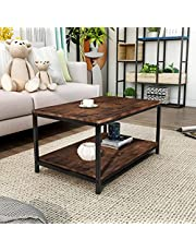 Coffee Table End Table Nightstand Industrial 2-Tier Tea Table with Storage Shelf Accent Furniture for Living Room, Rustic Brown