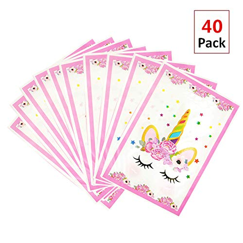 EIXJA 40 Pack Unicorn Party Bags, Plastic Party Gift Bags, Unicorn Party Supplies Goody Bags, Baby Shower Treat Bags,Party Bags for Girls Birthday,Unicorn Party Favor Bags
