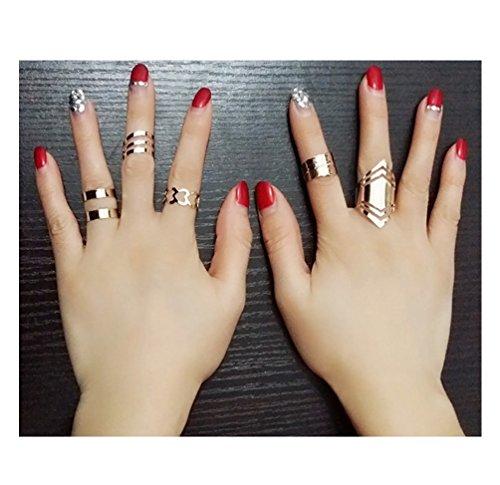 Orientalische Vintage Midi-Ringe Stapelringe Ring Set Schmuck-Set in Silber-oder Gold-Optik mit Elefant Dreieck Schlange Om-Zeichen verschiedene Symbole von DesiDo® (Gold-Elegant-Herzen-Blatt)
