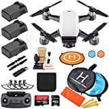 Cheap DJI Spark Drone Quadcopter (Alpine White) with 3 Batteries, Camera Gimbal Bundle Kit with MUST HAVE Accessories