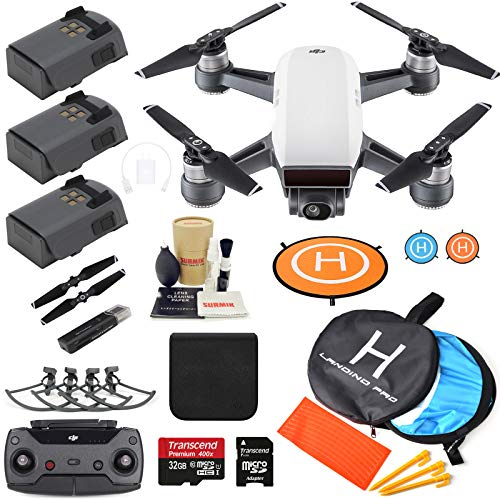 DJI Spark Drone Quadcopter (Alpine White) with 3 Batteries, Camera Gimbal Bundle Kit with MUST HAVE Accessories (Best Black Friday Deal On Iphone 6s Plus)