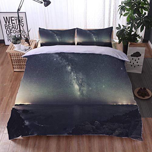 (VROSELV-HOME 3pcs Duvet Cover Sets,Galactic Arc,Soft,Breathable,Hypoallergenic,3D Print 100% Polyester Fiber Quilt Cover & Pillowcases)