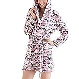 Tangda Fashion Women Flannel Camouflage Soft Plush Bathrobe Spa Rob - Size L