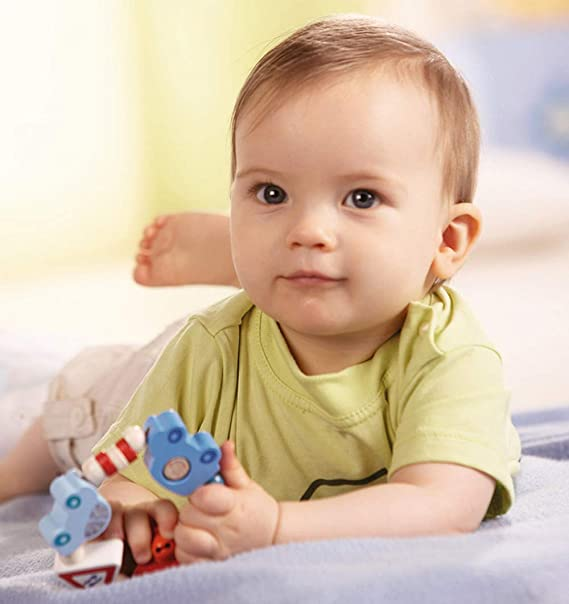 Small Rattle and Teether with Five Moving Rings Ring Around Clutching Toy H